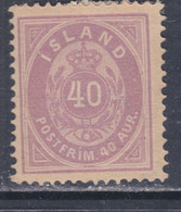 Islande N° 15 X  40 A. Lilas  Type A Trace De Charnière, Sinon TB - Ungebraucht