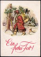 F0080 - Glückwunschkarte Weihnachten - Weihnachtsmann Santa Claus - Verlag Kunze Dresden - Santa Claus