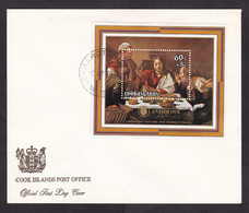Cook Islands: FDC First Day Cover, 1978, 1 Charity Stamp, Souvenir Sheet, Painting Carvaggio, Art (traces Of Use) - Cook