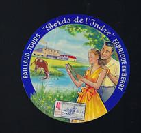 """étiquette Fromage  Bord De L'Indre 40%mg Paillaud Tours Indre Et Loire 37 """" Homme, Femme, Vache"""" étiq Vernie - Kaas"""
