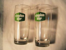 N. 2  BICCHIERI   BIRRA    SIMPLON    BIER - Glasses