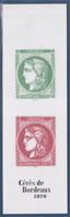 Cérès De Bordeaux Carnet 14 Timbres, 6 Rouge à 1.40€ Et 6 Vert à 0.10€ Sur Le 1er Feuillet 2 à 3.50€ - Freimarke
