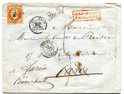 Enveloppe Yv N°16 Limoges/Paris Réexpédition Turin Insuffisance Bureau 15 18 Septembre 1855 TB - 1849-1876: Classic Period