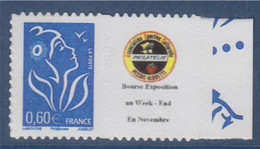 Timbre Marianne De Lamouche Type Autocollant  0.60€ Bleu De Feuillet YT 3966Aa Petit Logo Dentelé 4 Cotés Spink N°59 - Personnalisés