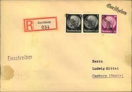 """1940, """"Gerstheim"""" Notstempel Auf Einschreiben Mit Deutschem R-Zettel - Alsace-Lorraine"""