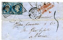 Lettre Imcomplète Destination Yv N°14 En Paire  Paris/Turin Affranchissement Insuffisant  Bureau A Du  8 Juillet 1859 TB - 1849-1876: Classic Period
