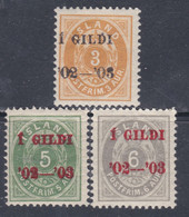 Islande N° 23A + 25 / 26 X  Les 3 Valeurs  Type A Surchargées, Trace De Charnière, Sinon TB - Ungebraucht