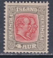 Islande N° 49 X Frédéric VIII Et Christian IX 4 A. Gris Et Rouge Trace De Charnière, Sinon TB - Ungebraucht