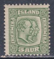 Islande N° 50 X Frédéric VIII Et Christian IX 5 A. Vert Trace De Charnière, Sinon TB - Ungebraucht