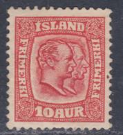 Islande N° 52 X Frédéric VIII Et Christian IX 10 A. Rouge Carminé Trace De Charnière, Sinon TB - Ungebraucht