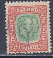 Islande N° 53 O Frédéric VIII Et Christian IX 15 A. Rouge Et Vert Oblitéré, TB - Gebraucht