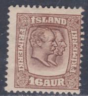 Islande N° 54 X Frédéric VIII Et Christian IX 16 A. Brun Trace De Charnière, Sinon TB - Ungebraucht
