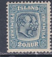 Islande N° 55 X Frédéric VIII Et Christian IX 20 A. Bleu Trace De Charnière, Sinon TB - Ungebraucht