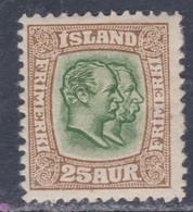 Islande N° 56 X Frédéric VIII Et Christian IX 25 A. Bistre Et Vert Trace De Charnière, Sinon TB - Ungebraucht