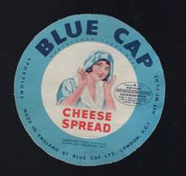 "Etiquette Fromage Cheese Spread Blue Cap Grande Bretagne United Kingdom  A Voir!  "" Femme"" - Kaas"