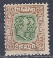 Islande N° 56 O Frédéric VIII Et Christian IX 25 A. Bistre Et Vert Oblitéré, TB - Gebraucht