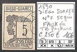 [859085]TB//O/Used-c:250e-DIEGO-SUAREZ 1890 - N° 7, 5c Gris, FAUX De TB Facture - Unused Stamps