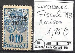 [859123]TB//**/Mnh-Luxembourg 1933 - Fiscal, Accises - Ongebruikt