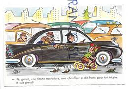 """Embouteillage. Homme Parle à Un Enfant"""" Hé, Gamin, Je Te Donne Ma Voiture ..."""", Tortue, Escargot, Tricycle. Signée Bozz - Humour"""