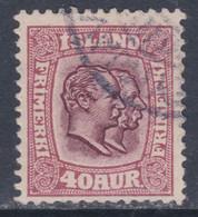 Islande N° 57 O Frédéric VIII Et Christian IX 40 A. Lilas-brun Et Grenat Oblitéré, TB - Gebraucht