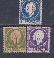 Islande N° 62 + 64 + 66 O Centenaire De La Naissance De Jon Sigurdsson, Les 3 Valeurs Oblitérées, TB - Gebraucht