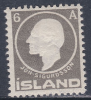 Islande N° 65 X Centenaire De La Naissance De Jon Sigurdsson ;  6 A. Gris Trace De Charnière, Sinon TB - Ungebraucht