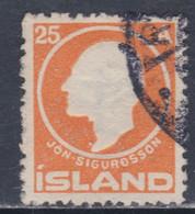 Islande N° 67 O Centenaire De La Naissance De Jon Sigurdsson ; 25 A. Orange Oblitéré TB - Gebraucht