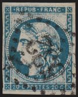 France N°45C, Cérès Bordeaux 20c Bleu, Type II R3, Oblitéré - COTE 70 € - TB - 1870 Ausgabe Bordeaux