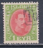 Islande N° 82 O Christian X : 1 E. Vert Et Rouge, Oblitéré, TB - Gebraucht