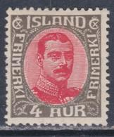 Islande N° 84 X Christian X : 4 A. Gris Et Rouge, Trace De Charnière, Sinon TB - Ungebraucht