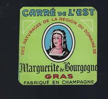 """étiquette Fromage Carré De L'est Marguerite De Bourgogne Gras Fabriqué En Champagne """" Femme"""" - Kaas"""