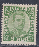 Islande N° 85 X Christian X : 5 A. Verty, Trace De Charnière, Sinon TB - Ungebraucht