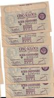 Dix Kilos Acier Ordinaire 1944 5 Billets Numéros Qui Se Suivent - Bons & Nécessité