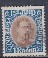 Islande N° 95 O Christian X : 1 K. Bleu Et Brun, Oblitéré, TB - Gebraucht
