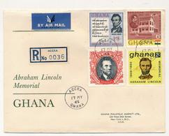"GHANA - 4 Valeurs ""Abraham Lincoln Memorial"" Sur Enveloppe FDC - Accra - 17 Mai 1965 - Ghana (1957-...)"