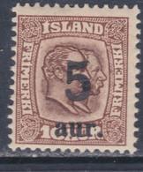 Islande N° 99 X Timbre Surchargé : 5 A. Sur 16 A. Trace De Charnière, Sinon TB - Ungebraucht