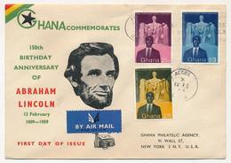 "GHANA - 3 Valeurs ""150eme Anniversaire Naissance D'Abraham Lincoln"" Sur Enveloppe FDC - Accra - 12 Fev. 1959 - Ghana (1957-...)"