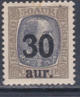 Islande N° 113 X Timbre Surchargé : 30 A. Sur 50 A. Gris Et Gris Noir, Trace De Charnière, Sinon TB - Ungebraucht