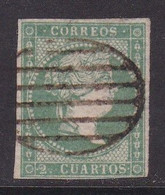 ESPAÑA 1855 - Isabel II Sello Usado 2 Cu. Verde Edifil Nº 43 Filigrana Líneas Cruzadas - Used Stamps