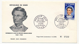 NIGER => Enveloppe FDC => Président Abraham LINCOLN - Premier Jour - Niamey - 3 Avril 1965 - Niger (1960-...)