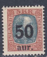 Islande N° 114 X Timbre Surchargé : 50 A. Sur 5 K. Brun-jaune Et Ardoise, Trace De Charnière, Sinon TB - Ungebraucht