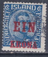 Islande N° 120 O Timbre Surchargé : 1 K. Sur 40 Bleu, Oblitéré, TB - Gebraucht