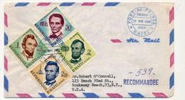 HAITI => Enveloppe FDC => Président Abraham LINCOLN - 4 Valeurs - Premier Jour - Port Au Prince - 12 Mai 1959 - Haiti