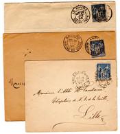 5 Empreintes Daguin Pau,rouen,valenciennes, Angers Et Le Havre 1886-1904 - 1877-1920: Semi Modern Period
