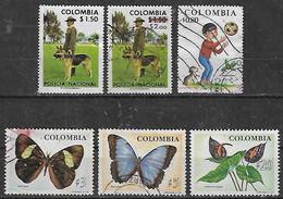 1976-7 Colombia Fauna Perros Policia-niños-mariposas Flores 6v. - Kolumbien