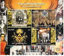 79 - Feuillet 4 Timbres Washington, Mozart, Temple Maçonnique, Symboles. LUXE - Freemasonry