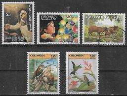 1982-6 Colombia Sta Teresa-navidad-fauna Venado Conejo-pajaros 5v. - Kolumbien