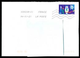 """Timbre Postal Adhésif (2020) """"Mon Spectaculaire, Hibou"""" Seul Sur Lettre - 1961-...."""
