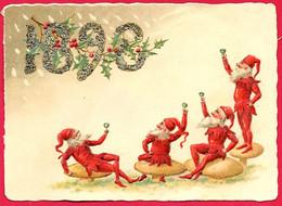 CHROMO (Voeux De Bonne Année) Lutins Sur Des Champignons Trinquant Au Nouvel An 1898...* Gaufrée Embossed Paillettes - Other