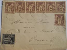 CALVADOS - Superbe Enveloppe Affranchie à 15c En 1900 Avec 7 TP à 2c Et 1c Type Sages - 2 Photos - 1877-1920: Semi Modern Period